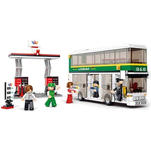 Siyushop City Double Decker Bus, Blocs de Construction urbains, Blocs pour Tout-Petits, 1 Bus à impériale, 1 Station-Service, 5 poupées, Kits de Construction (403 pièces)