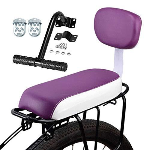 Asiento para bicicleta para niños con respaldo, apoyabrazos y juego de pies para niños MTB bicicleta PU en cojín trasero de cuero suave para accesorios de rack conjunto gris claro