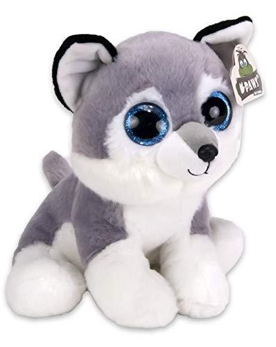 Kuscheltier Husky   Plüschtier mit strahlenden glubschi Augen   15cm hoch