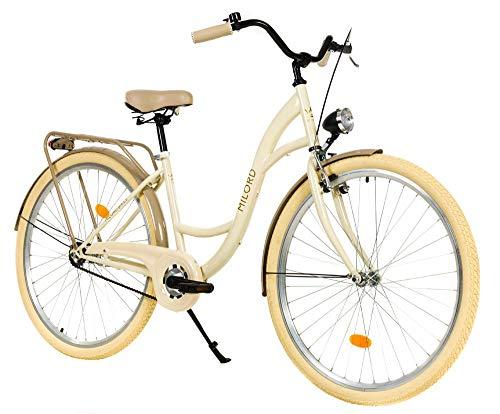 Milord. 28 Zoll 1-Gang Creme Braun Komfort Fahrrad mit Gepäckträger Hollandrad Damenfahrrad Citybike Cityrad Retro Vintage