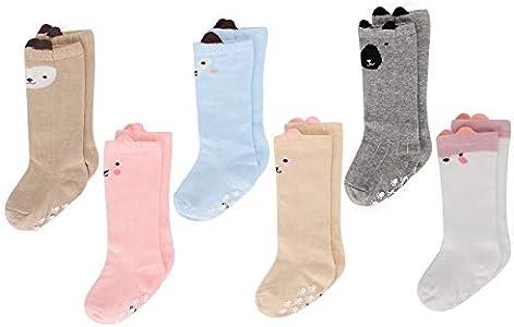 LACOFIA 6 Pares de calcetines largos de altos para bebé niñas Medias antideslizante de algodón de punto princesa infantiles niña 0-1 años