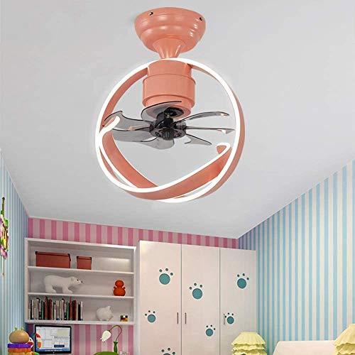 sknonr Luz del Ventilador de Techo Ligero, diseño de luz Creativa Curvada, con Motor silencioso, Verde, Blanco, Rosa (Color : Pink)