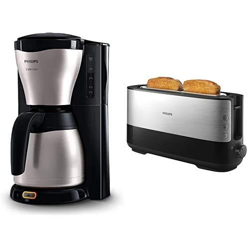 Philips HD7546/20 - Cafetera de goteo café Gaia, 1000 W, jarra térmica con capacidad para 10-15 tazas, color plata + Viva Collection Tostadora, 950 W, 1 Liter, INOX, Negro/Plateado