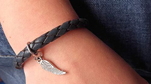 Handmade Kinder, Mädchen, Jungen, Unisex Echt Leder Armband Blau/Grau, geflochten, Flügel Anhänger