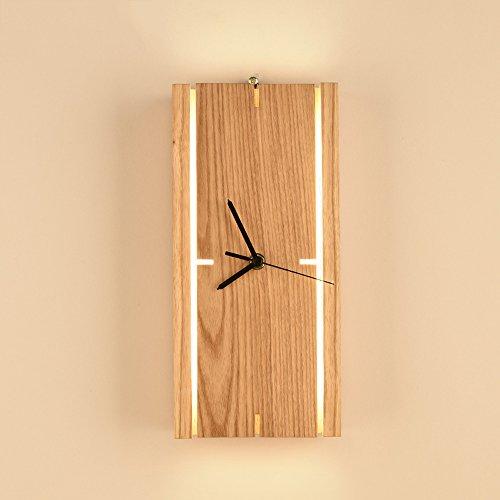 Pointhx Einfache moderne holz uhr led schreibtischlampe kreative schlafzimmer nachttischlampe e27 wohnzimmer desktop laterne (14 * 29 cm)