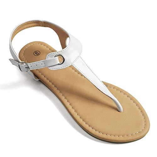 Soles & Souls Flat T-Strap Thong Sandal for Women White 10