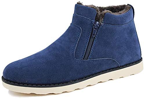 Gracosy Winter Stiefeletten Flach Gefüttert Kurzschaft Stiefel Seitlicher Reißverschluss Suede Schuhe Unisex, Gr.-38 EU, Blau