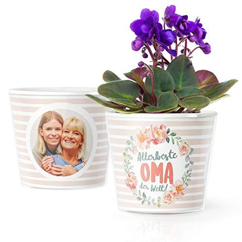 Facepot Allerbeste Oma der Welt - Blumentopf (ø16cm) Geschenke für Oma mit Bilderrahmen für Zwei Fotos (10x15cm)