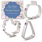 Ann Clark Cookie Cutters Juego de 3 cortadores de galletas celebraciones de otoño con libro de recetas, calabaza, caramelo de maíz y pavo