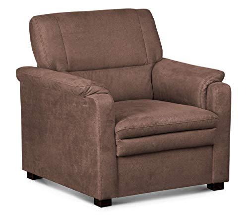 CAVADORE Sessel Pisoo / Gemütlicher Fernsehsessel fürs Wohnzimmer / Wohnzimmersessel / 86 x 89 x 90 cm / braun