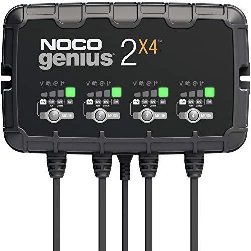 NOCO GENIUS2X4, 8A (2A/Bank) Intelligent Ladegerät, 6V und 12V Batterieladegerät, Erhaltungsladegerät, und Desulfator für Auto, Motorrad, KFZ, LKW, PKW, Boot, Roller, Wohnmobil, und Wohnwagen