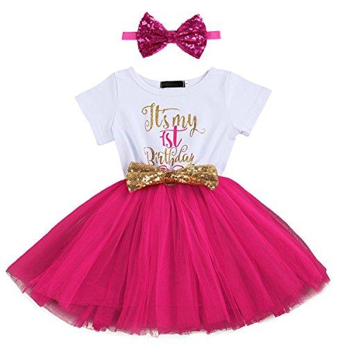 FYMNSI Baby Säugling Mädchen Es ist Mein 1. / 2. Geburtstag Party Kleid Outfit Kurzarm Tütü Tüll Prinzessin Geburtstagskleid mit Pailletten Schleife Stirnband Fotoshooting Babykleidung Set Rose