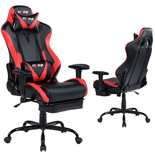 KCREAM E-Sports Stuhl mit Kopfstütze und Lendenkissen PVC Leder Ergonomischer Hochlehner Gaming Stuhl Höhenverstellbar Profi Gamer Stuhl