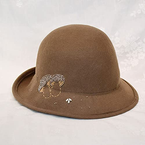 AAKKY Womens Hats Autumn Winter Flowers Warm Felt Hat Women Wool Vintage Felt Fedora Woolen (Color : Camel, Size : Adjustable)