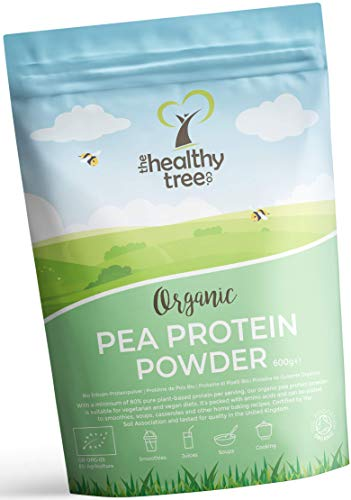 Poudre de Protéine de Pois Bio par TheHealthyTree Company - Végan, Protéine Européenne 80% + Haute Teneur en Acides Aminés, Fer, Zinc et BCAAs (600 g)