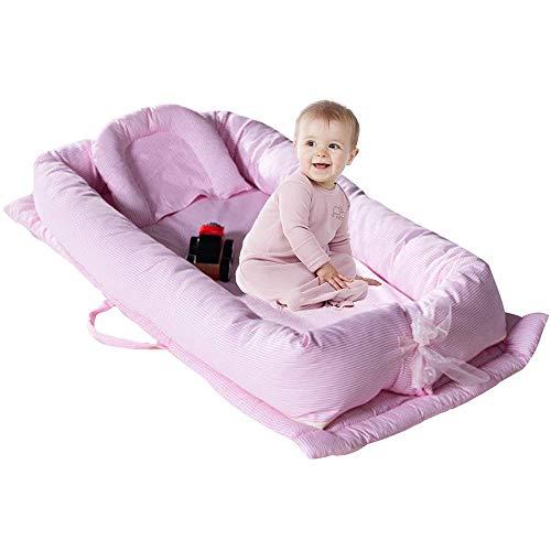 TEALP Kuschelnest Babynest Multifunktionales Nest für Babys Säuglinge Reisebett, 100{5b3a5d07c7ac2d2affc9f3e94b90c904d4089beea56c755dcf1e363ba2f9959e} Baumwolle, Pink gestreift(0-24 Monate)