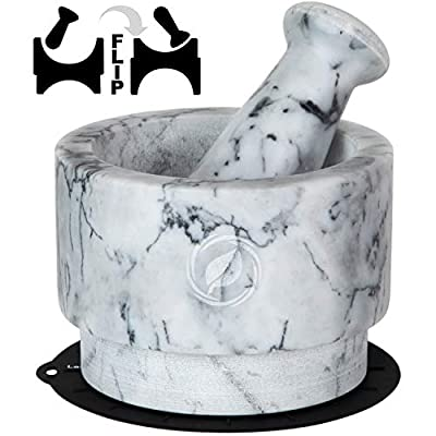 Mortar and Pestle Set Marble - 5.6 Inch, 2.2 Cup - Unique Double Sided - Pestle and Mortar Bowl Solid Stone Grinder - Guacamole Mortar and Pestle Large - INCLUDED: Silicone Lid/Mat and Spoon