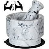 Mortar and Pestle Set Marble - 5.6 Inch, 2.2 Cup - Unique Double Sided - Pestle and Mortar Bowl...