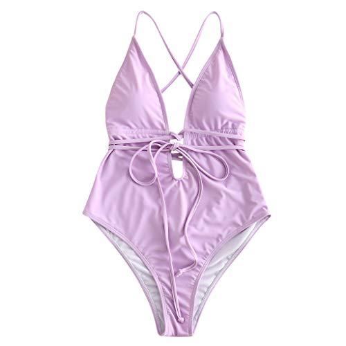 Honestyi-Maillots de bain Femme Sexy Deep V Bikini Ensembles Maillots Une Pièce Couleur Unie Natation Ensembles Nouveau Casual Confortable Taille Haute Swimwear Retro Bathing Suit