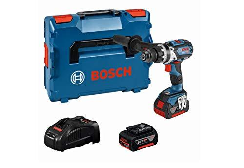 Bosch Professional - Taladro percutor inalámbrico con sistema de 18V GSB 18V-85 C (par máximo (duro / blando) 110 Nm / 47Nm, incluye batería + cargador 2x5.0Ah, en L-BOXX)