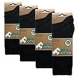 BIOBASICS Herren und Damen 100prozent BIO Baumwolle Socken Sensitiv Komfortb& Business-Socken Ges&heitssocken ohne Gummi (12 Paar) Schwarz 43-46