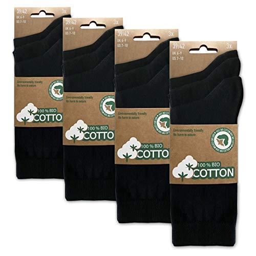 BIOBASICS Herren & Damen 100% BIO Baumwolle Socken Sensitiv Komfortbund Business-Socken Gesundheitssocken ohne Gummi (12 Paar) Schwarz 43-46