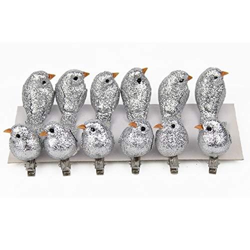 Lysee Pendant & Drop Ornaments - 12pcs Artificial Foam Birds Simulation Birds Home Craft Ornament Five Colors Christmas Party Holiday DIY Supplies Decorations - (Color: Silver)