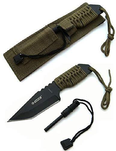 KS-11 Taktisches Survival Messer mit Feuerstein/Zündstein Fallschirmleine für Outdoor Camping Jagd/Angeln als Hunting Knife Fahrtenmesser – Klingenlänge 10 cm