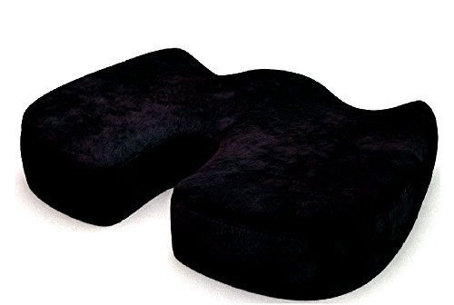 EFD Best Orthopedic Seat Cushion Memory Foam for Back Pain Coccyx Tailbone Office Chair Driver Pillow Car Seat Black Velour Relief Spine Allignment Healthy Posture & eBook by Easy&FunDeals