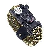 21 en 1 pulsera de supervivencia, 7 Core Paracord deportes de emergencia pulsera Gear Kit impermeable brújula, SOS LED luz, termómetro, silbato de rescate, fuego Starter Multi-Tool Wilderness Adventure accesorios, Hombre, Army Green Camo