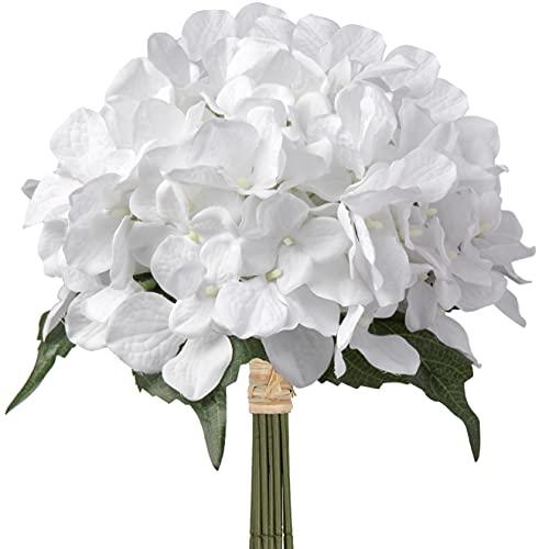 Fleurs artificielles d'hortensia artificielles en soie 9 têtes Bouquet d'hortensias pour mariage, maison, fête, cuisine, bureau