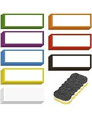 LOPOTIN 40pcs Etiqueta Magnética Borrable, Colorida Etiqueta Magnética para Escribir, Etiqueta Magnética de Notas Adhesivas con Borrador, para Pizarra Móvil refrigerador Nevero Oficina Escuela.