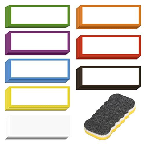 LOPOTIN 41Stücke Magnetstreifen Beschreibbar Magnetisch Etiketten Abwischbare Magnetschilder Magnete Streifen mit Tafelwisch für Schule Büro Whiteboards Kühlschränke Magnettafeln 8 Farbe