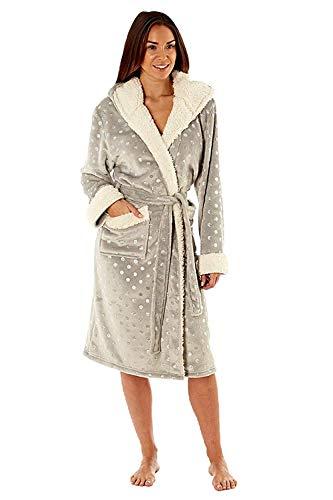 MASQ Damen Marineblau oder grau Folie Druck Robe mit Kapuze Damen Sherpa Trimm Bademantel - Glitzer Spot Grau, Größe - UK - 16/18