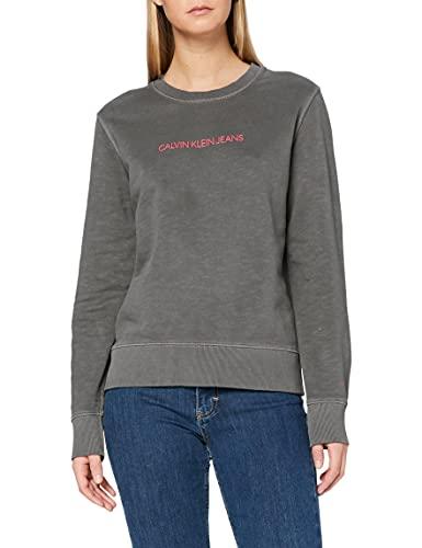Calvin Klein Jeans Damen Shrunken Institutional GMD Cn Pullover, Grey, XS