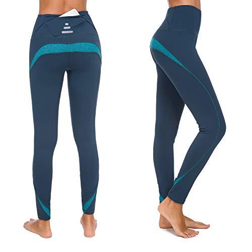 Munvot Sportleggins Damen Lang Sporthose Tights für Smartphone - H3917-07(Grün)/XS(DE34-36)