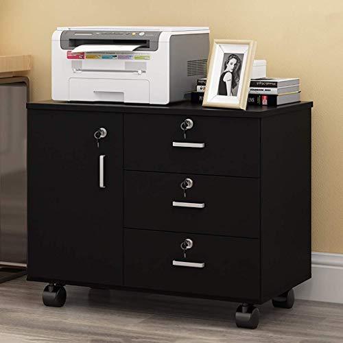 XBSXP Gabinete de Oficina de Escritorio Que se Puede Mover con Cerradura Cajonera de Alta Capacidad Debajo de la Mesa Gabinete de Almacenamiento de Datos, C