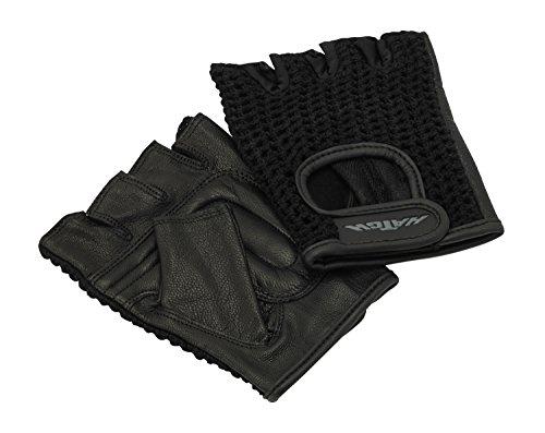 All-Purpose Ein Paar Padded Mesh-Rollstuhl-Handschuhe, X-Large, Schwarz, Leder Palm, Schaumstoffpolsterung, Handschutz von Blisterpackungen und Schwielen, Half-Finger-Handschuhe, volle Bewegungs