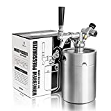 TMCRAFT 64oz Pressurized Mini Keg Growler, Portable Stainless Steel Home Keg Kit System with Updated Co2 Regulator Keeps Fresh and Carbonation for Homebrew, Craft and Draft Beer