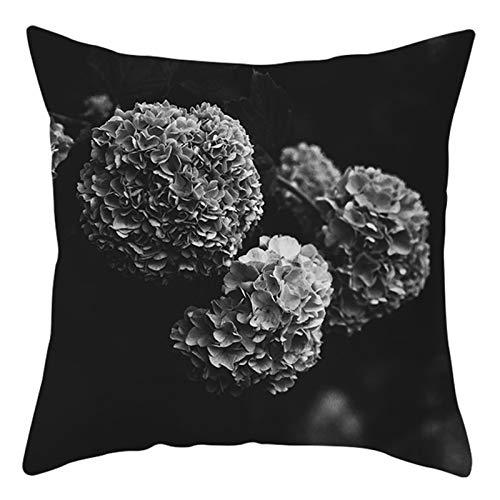 AtHomeShop 50 x 50 cm, fundas de cojín decorativas en poliéster con flores de hortensia, suaves, cómodas, cuadradas, para dormitorio, oficina, sofá, decoración, color negro y gris, estilo 8