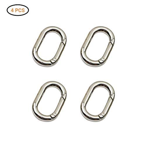 Sahalo 4 Stück Mini Karabiner Metall Oval Ring Frühling Schlüsselanhänger Karabinerhaken Schnalle Clip für Taschen Geldbörsen
