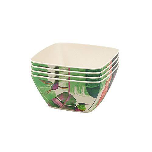 BIOZOYG Set Cuencocereales de bambú orgánico Motivo Leafs I Set 4X Cuencos Redondos 14 x 7cm 600ml I Vajilla Melamina Ecológica de bambú Tazón Frutas, Cuenco Cereales Vajilla Campamento