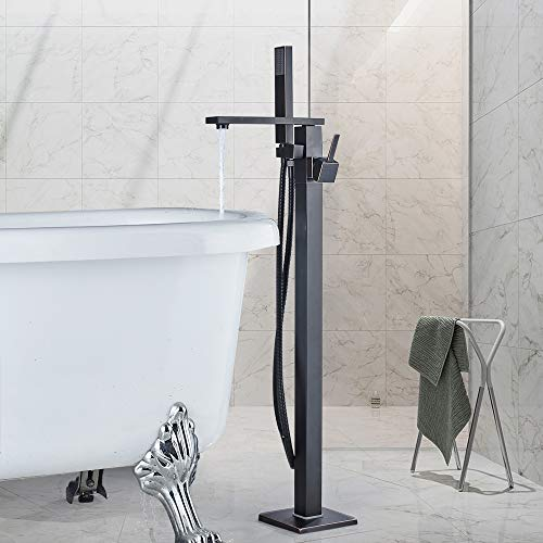 Rozin Freistehende Armatur Badewanne Wasserhahn 360° Drehbarer Auslauf mit Handbrause Badezimmerarmatur Standarmatur Armaturen Öl Bronze gerieben