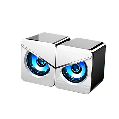 Camisin 3D Sound Effect Dual Speaker Computer Audio, Usb Wired Home Desktop Office Gaming Notebook Subwoofer Speaker-White