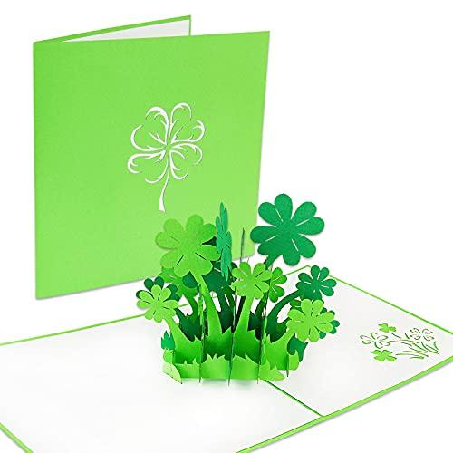LuckeeCards® 3D-Glücksklee-Karte - Gute Besserung - Geburtstag - Glückwunschkarten - Prüfung Geschenk - viel Glück - als Geburtstagskarte oder Gutschein