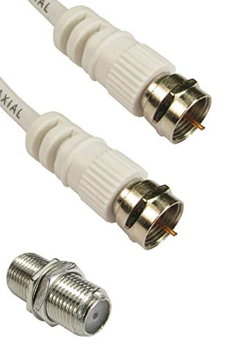 ConnectingU 3m White Satellite Coaxial Cable Kit (Virgin Media & Sky Compatible) - Male to Male Cable with F-Type Connectors Bundled with an F-Type Female to Female Coupler.