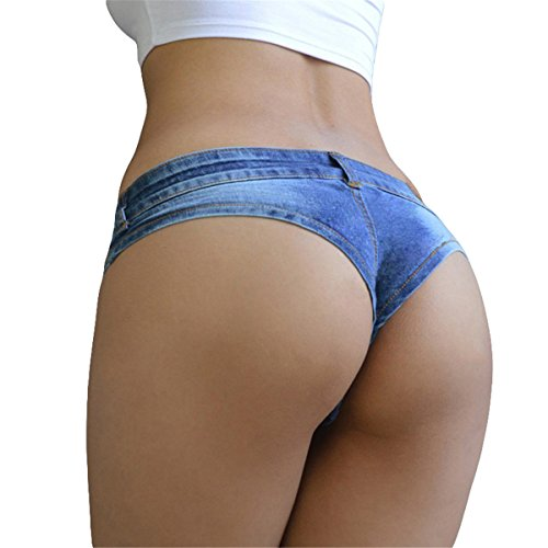 Hippolo Frauen Denim Shorts Mini Kurze Jeans Vintage Booty Night Club Party Engen Schritt Tanga String Cute Bikini (M)