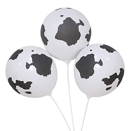 YeahiBaby 50Pcs Globos de Látex de Impresión Vaca, 12 Pulgadas Divertidos Globos de Vaca de Granja Favores de Partido Suministros para la Decoración de la Boda de Cumpleaños