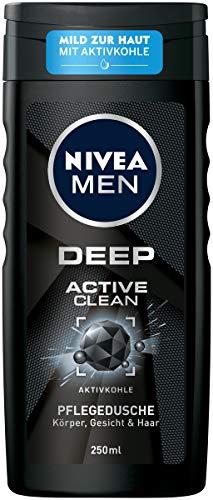 NIVEA MEN DEEP Active Clean Pflegedusche (250 ml), vitalisierendes Duschgel mit Aktivkohle, pH-hautfreundliche Dusche für Körper, Gesicht und Haar