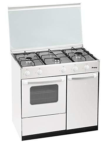 Cocina portabombona 90 cm de ancho con horno PROXY, color blanco, 4 fuegos y horno con grill a gas (butano o natural).